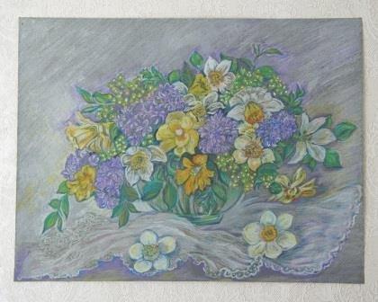 """""""Нарциссы"""", весна 2013, масляная пастель"""